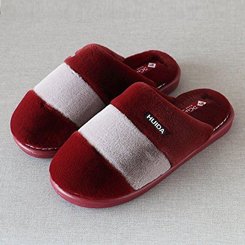 pour coton en vin de chaud en stries de indoor femmes chaussures 3839 rouge et lame des pieds 26 bois Chaussons plancher d'hiver accueil épais épais hommes les 65HSw4q4tx