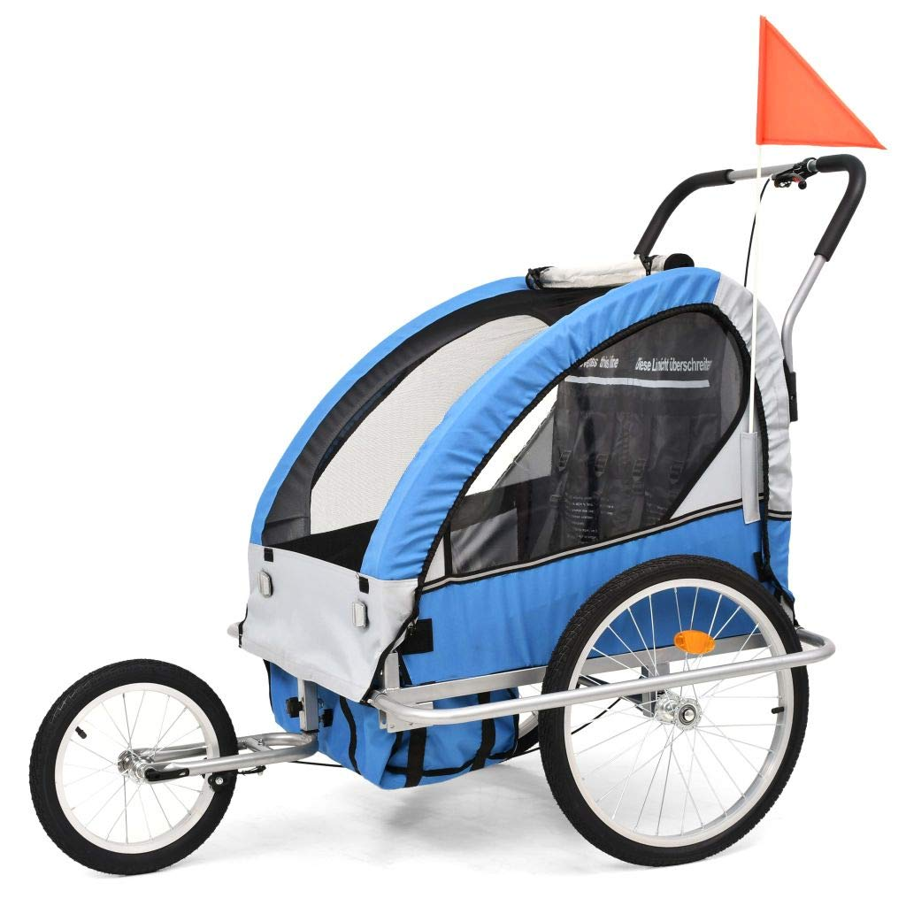 vidaXL Kinderfahrradanhänger 2-in-1 Blau Grau Kinderanhänger Fahrradanhänger