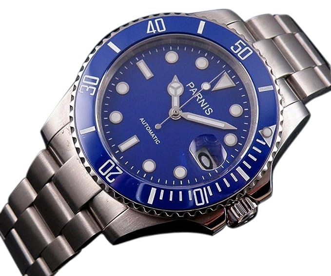 PARNIS 40 mm Submariner estilo azul cerámica bisel esfera azul reloj automático: Amazon.es: Relojes