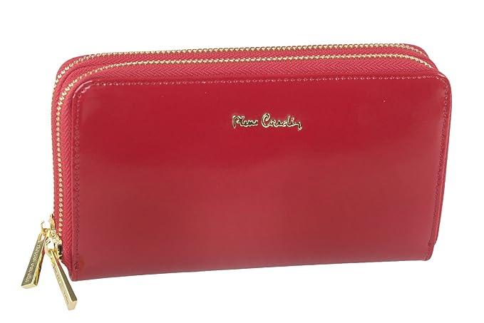 cartera mujer PIERRE CARDIN rojo en cuero con doble abertura zip A5111: Amazon.es: Ropa y accesorios