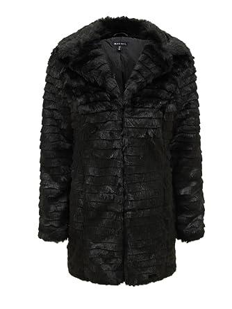 5df1e53dcf Brave Soul - Veste Manteau Femme Rétro Vintage Mode Hiver Fausse Fourrure  Grande Taille - Noir