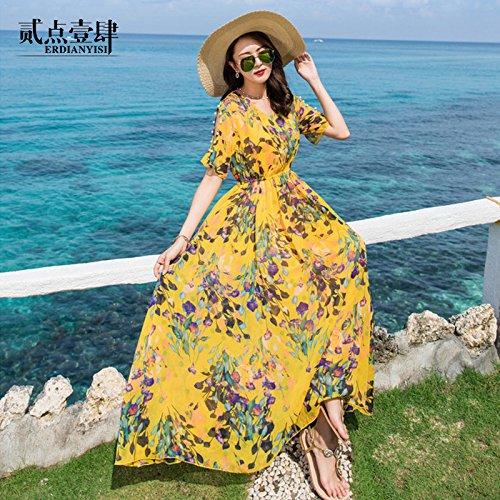 GAOLIM Abalorios En Cinco Parte De Manga Corta Chiffon Floral Femenino Vestido De Verano Vacaciones De Playa Playa Vestido, L, Amarillo