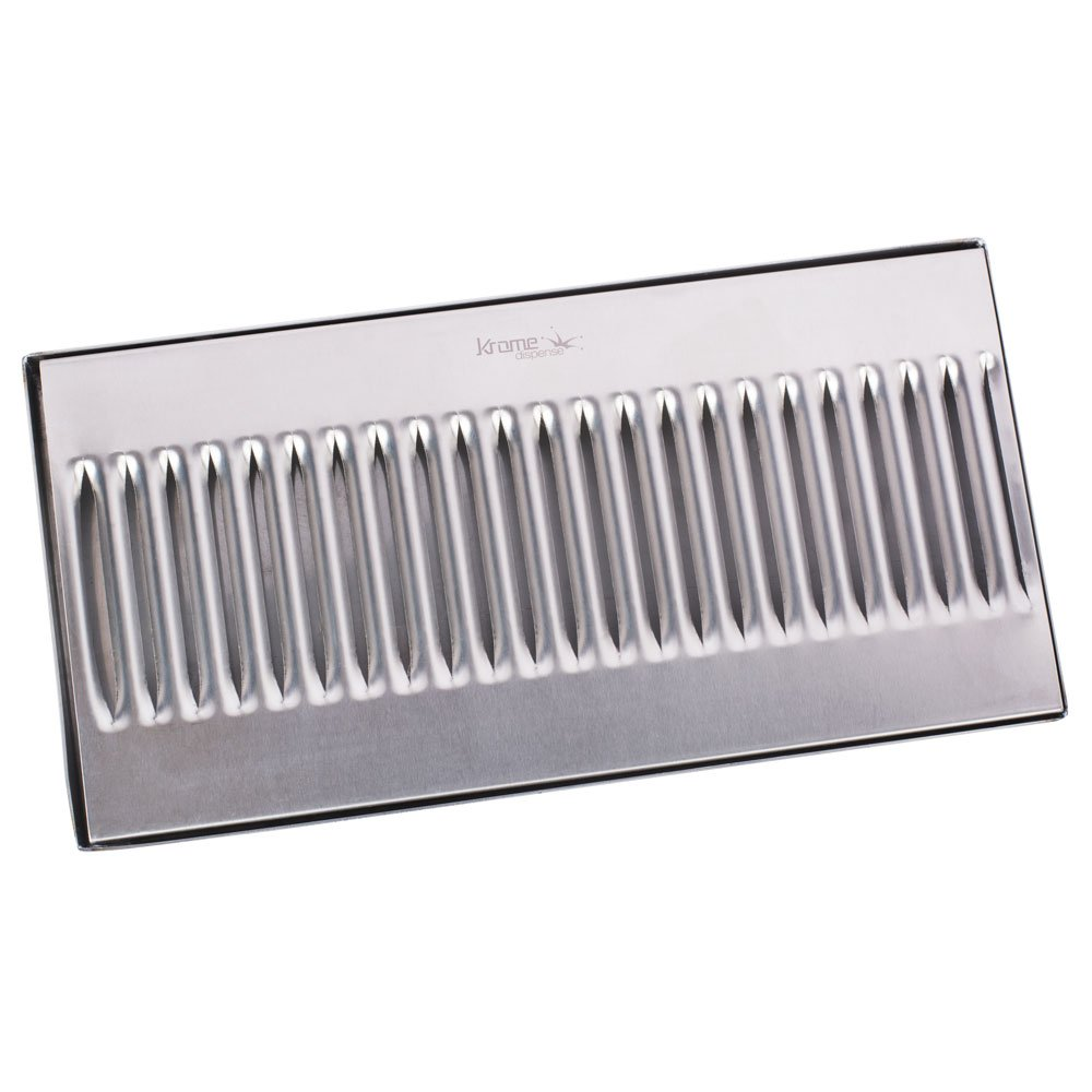 12'' Surface Mount Drip Tray - Stainless Steel - No Drain - Decorative Grate