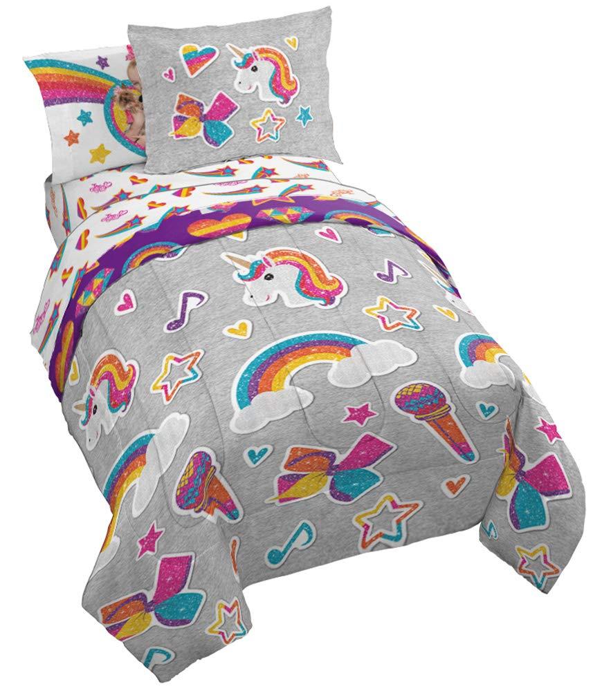 Jay Franco Nickelodeon JoJo Siwa Rainbow Sparkle 5 Piece Twin Bed Set, Grey by Jay Franco