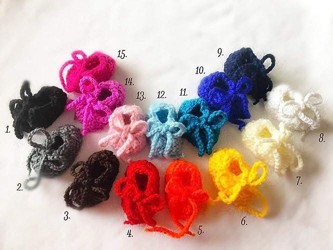 15 colores | los zapatos recién nacidos ganchillo | zapatitos de bebé unisex | zapatos o