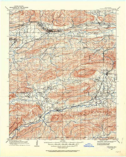 YellowMaps Tuskahoma OK topo map, 1:125000 Scale, 30 X 30 Minute, Historical, 1908, Updated 1964, 21.2 x 17 in - Tyvek -