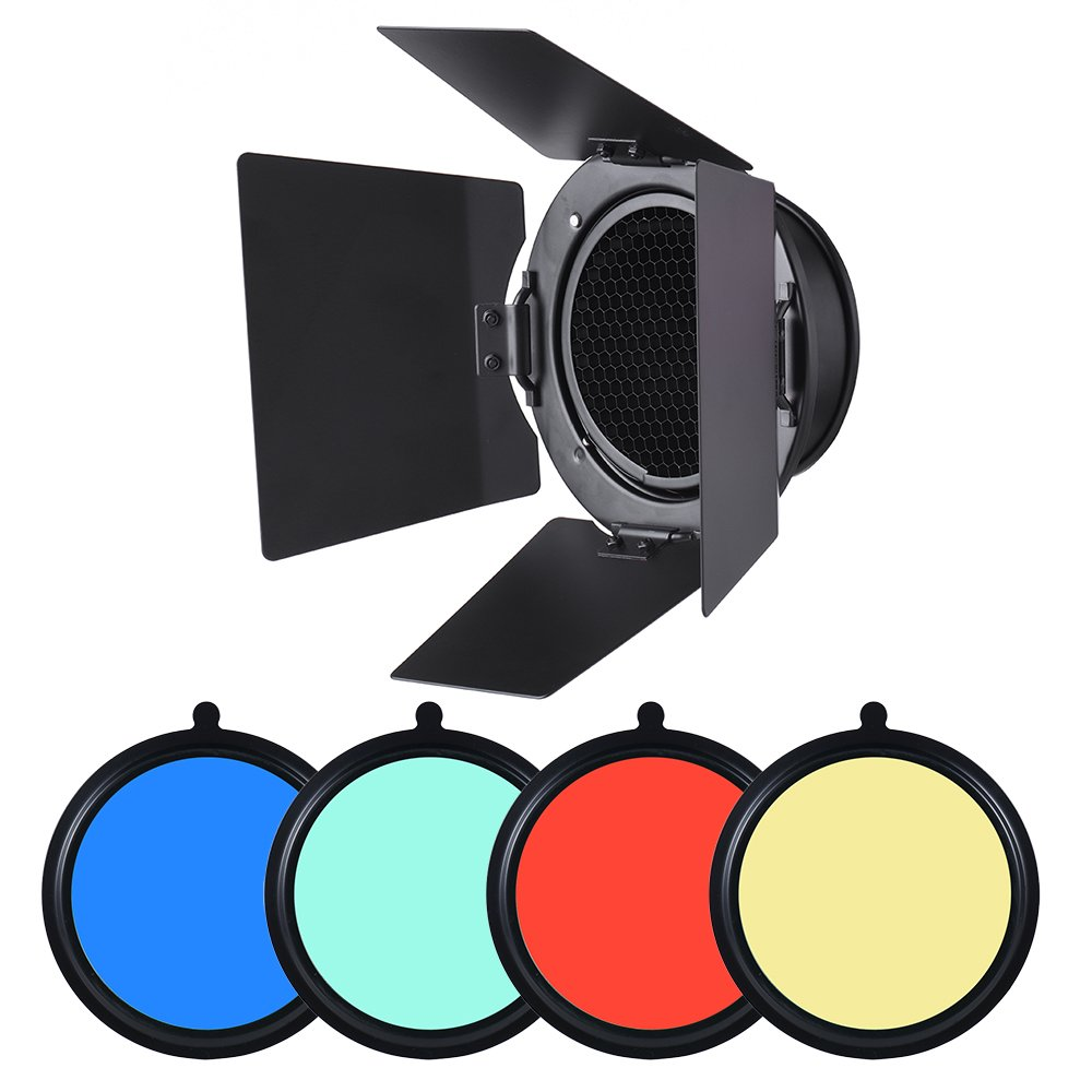 Andoer 96mm Mount Metal Bardoor Barn Door Barndoor with Honeycomb Grid 4pcs Color Gel Filters for Neewer Godox 180W 250W 300W Andoer MD-250 MD-300 Studio Strobe Flash Light Monolight
