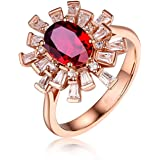 Aokarry Women 18K Rose Gold Anniversary Promise Ring, 0.99ct/1.2ct Oval Ruby Diamond Rings for Womens Blooming Flower