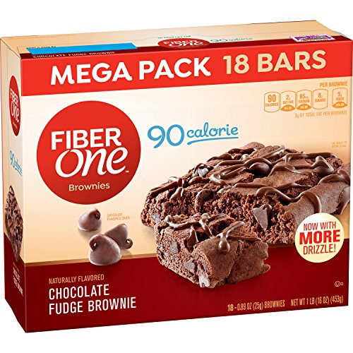 Fiber One Brownies, 90 Calorie Bar, Chocolate Fudge Brownie,0.89 Ounce , 18 Count (Pack of (Chocolate Chip Walnut Brownies)