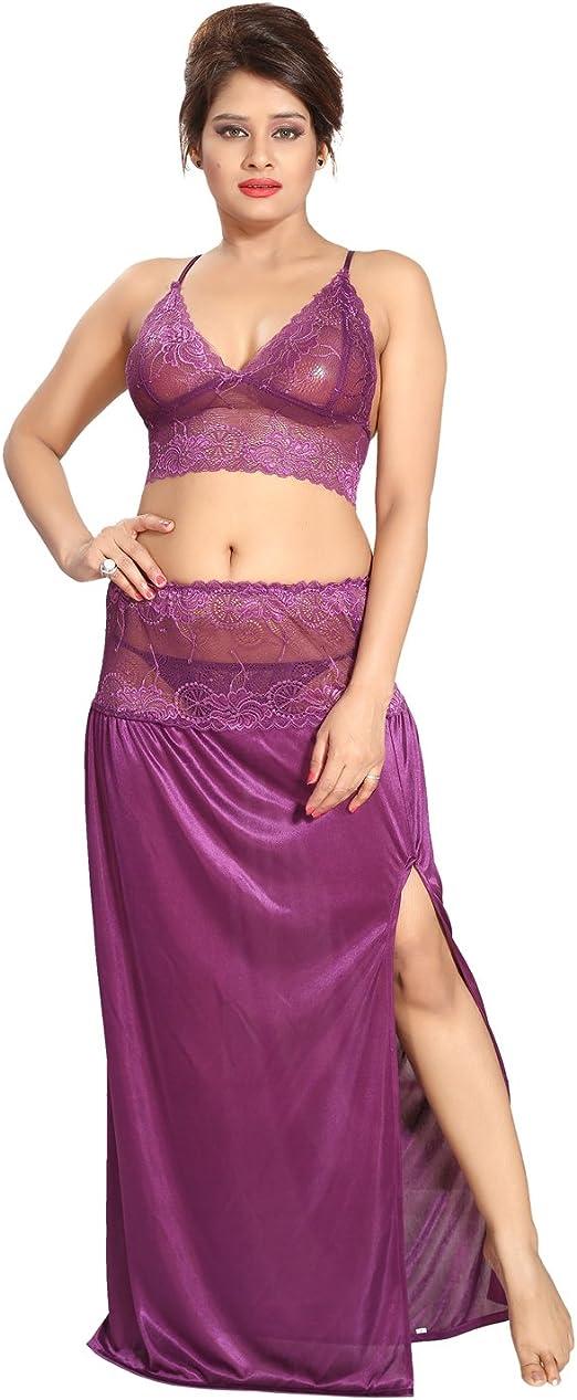 Be You satén violeta lacey crop top y falda camisón para mujer ...