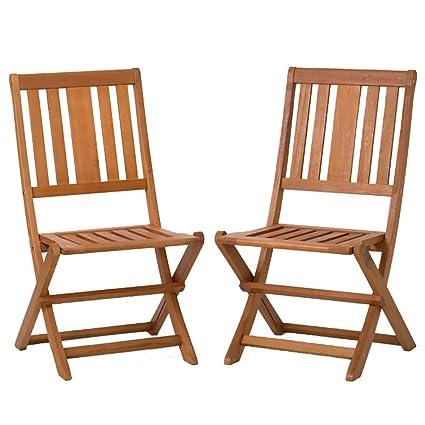 DTY Outdoor Living Armless Folding Chair Set of 2 - Outdoor Living Eucalyptus  Patio Furniture Dining - Amazon.com : DTY Outdoor Living Armless Folding Chair Set Of 2