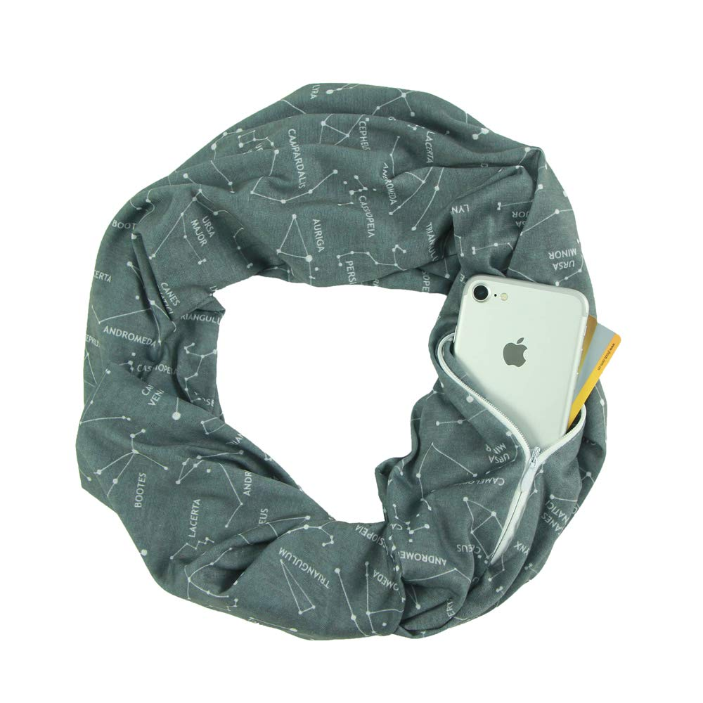Grey Constellation CADITEX Travel Scarf, Infinity Scarf with Secret Hidden Zipper Pocket