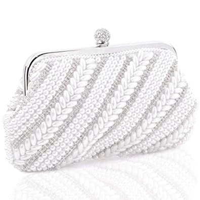 82cb4d528a Image Unavailable. Image not available for. Color: Womens Evening Bag, Artificial  Pearl Beaded Clutch Handbags Wedding Party Rhinestone Purse Shoulder bags