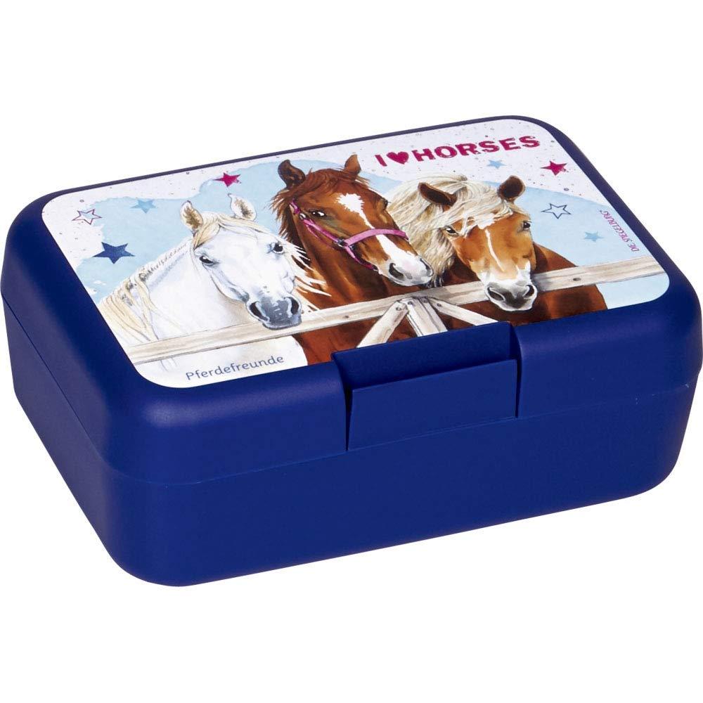 Die Spiegelburg 15521 Butterbrotdose Pferdefreunde blau