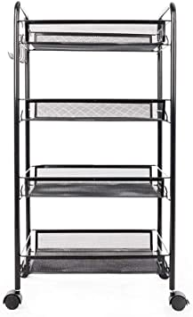 Exquisite Honeycomb Net Four Tiers Storage Cart with Hook Black