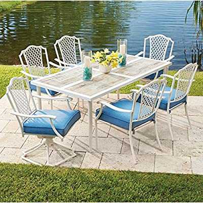 Alveranda 7-Piece Metal Outdoor Dining Set with Periwinkle Cushions -  - patio-furniture, dining-sets-patio-funiture, patio - 61ZaS4e3FLL. SS400  -