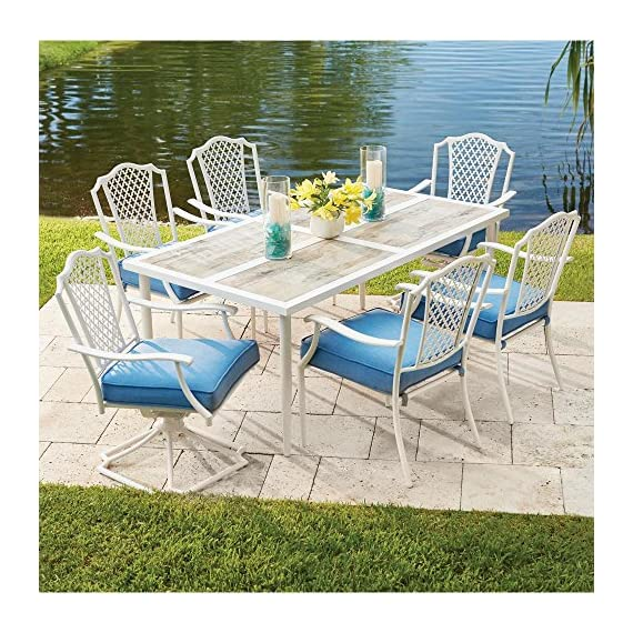 Alveranda 7-Piece Metal Outdoor Dining Set with Periwinkle Cushions -  - patio-furniture, dining-sets-patio-funiture, patio - 61ZaS4e3FLL. SS570  -