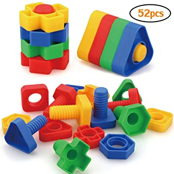 Amazon Com Jumbo Nuts And Bolts Toys 52psc For Toddlers