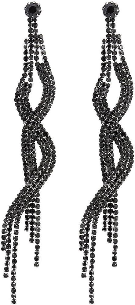Elegante Negro Rhinestones Cluster Largo Borla Pendientes Vestir EventoDesfile Banquetes Fiesta