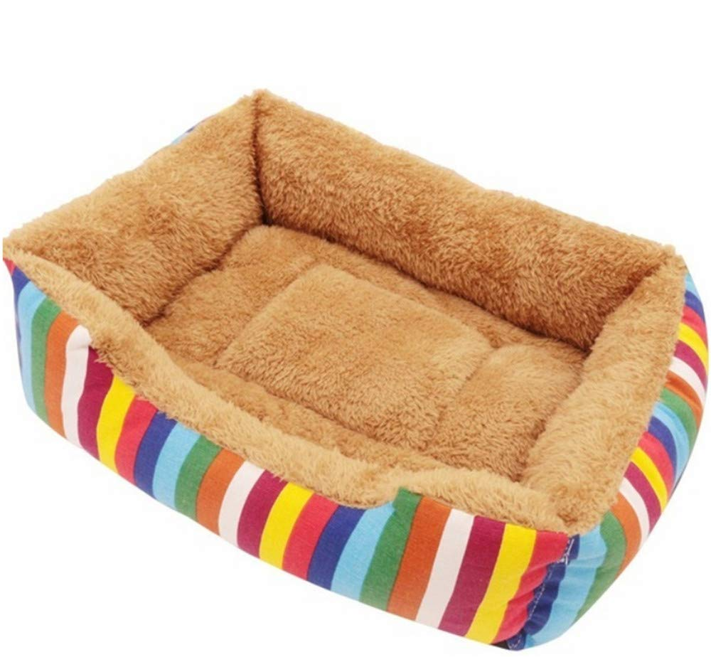 M Wuwenw Pet Beds For Dogs Cats Bedding Detergent Large Medium Cute Pet Dog Cat Warm Bed color Striped Warm Canvas Cotton Kennel Dog Bed Room Sofa Winter Square Pad Kennel,M