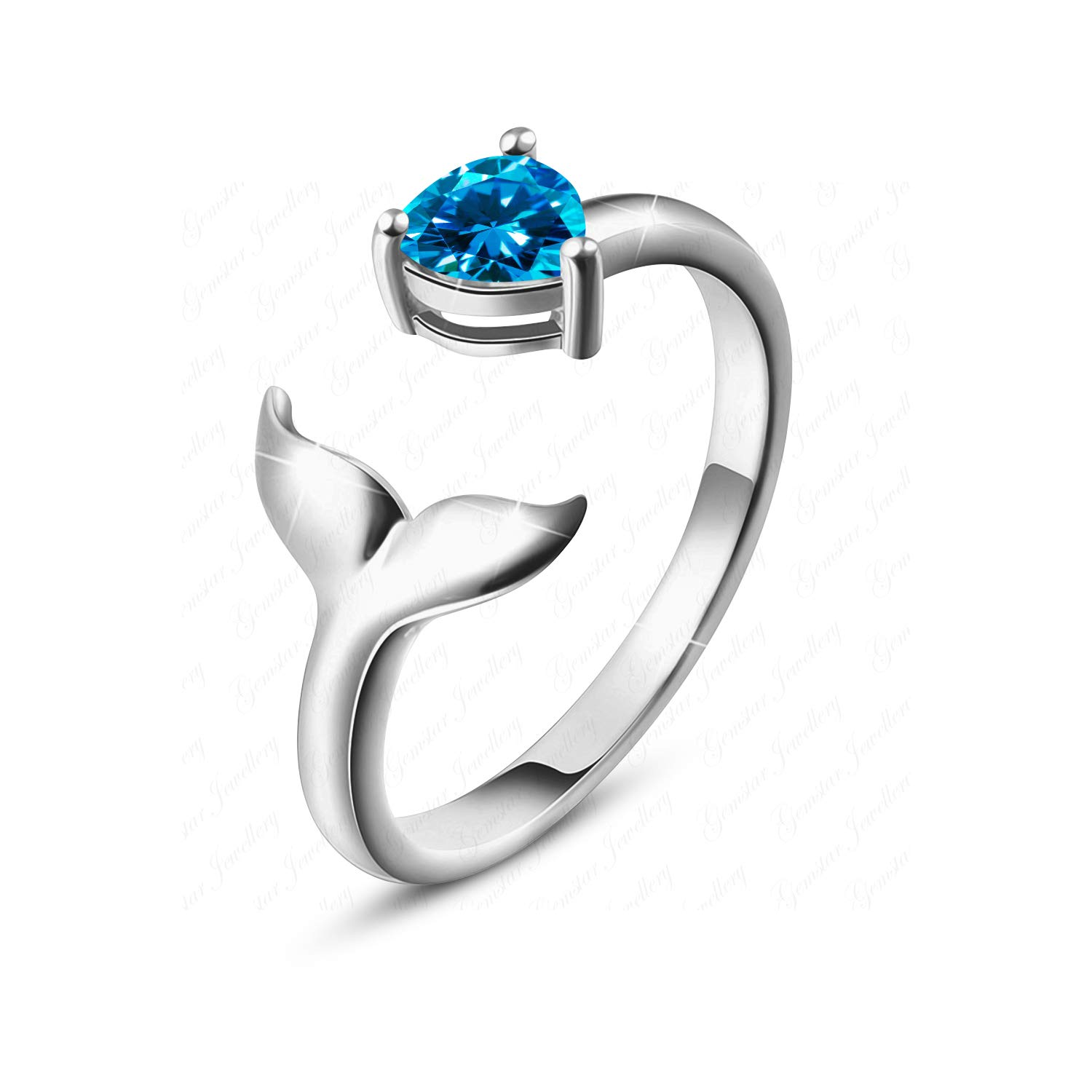 Gemstar Jewellery Excellent Pear Cut Blue Topaz 925 Silver Mermaid Toe Ring in 14k White Gold Plating