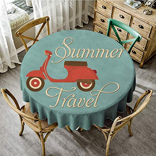Round Tablecloth 1960s Decorations Summer Travel Scooter Vacation Vespa Classic Wheels Rock Cool Cycle Hippy Motorbike Design Round Tablecloths for Wedding/Banquet/Restaurant, D51 inch, (Turquoise Scooter Clamp)
