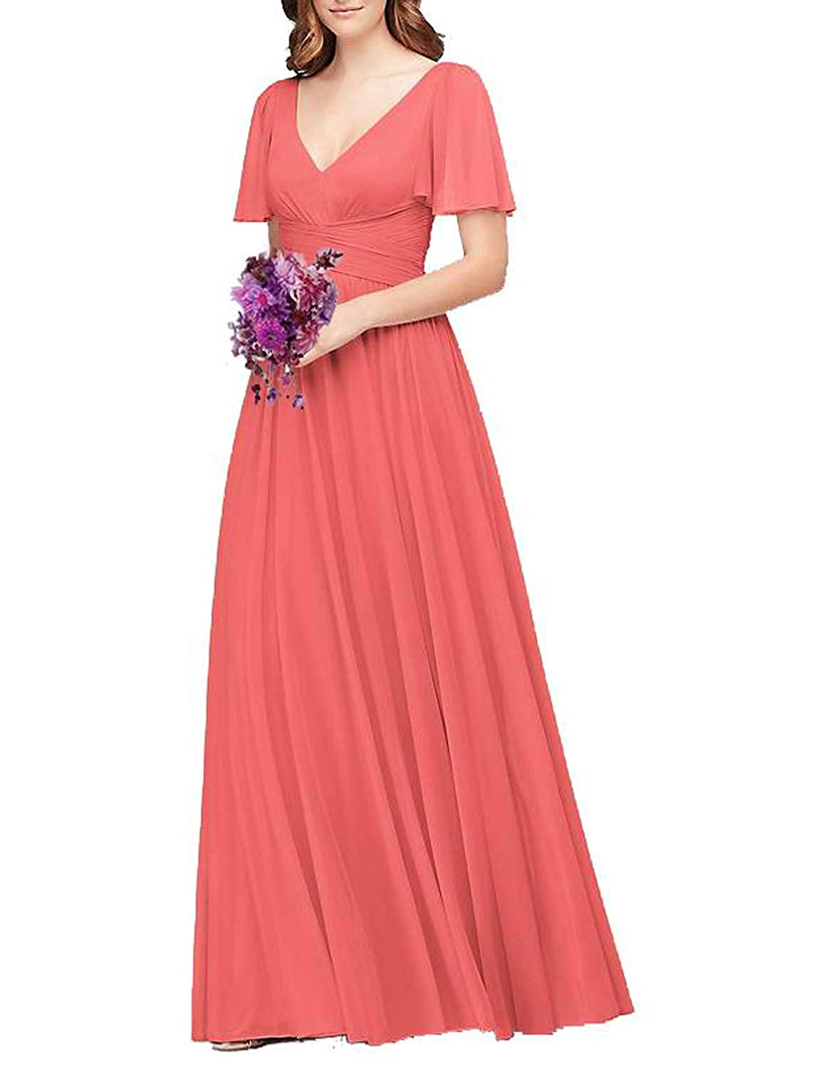 Fusion Coral Flutter Sleeve Long Ball Prom Gown for Women Formal Bridesmaid Dress Maxi Skirt