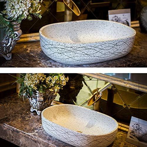 BoPin バスルーム洗面台、浴室セラミックカウンターシンクオーバルレトロ上記カウンター洗面ホームバルコニー洗面台、59X40X15cm ベッセルシンクシンク (Size : 59X40X15cm)
