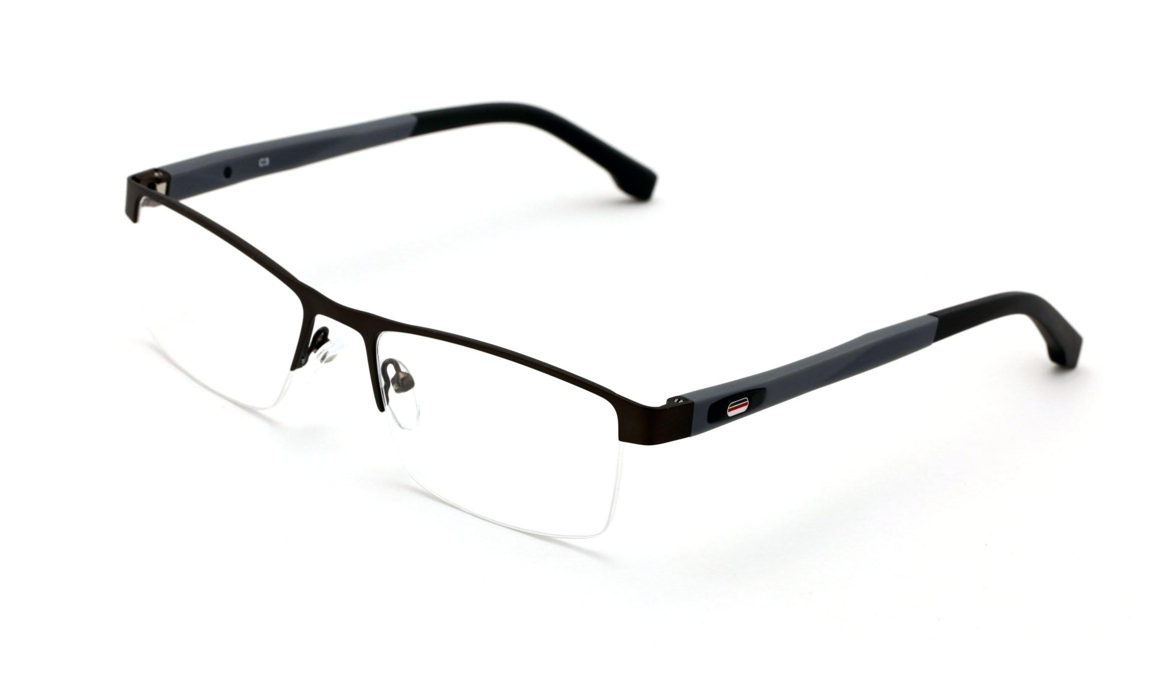 V.W.E. Men Half Rimless Rectangular Non-prescription Glasses Frame Clear Lens Eyeglasses (Gray) by V.W.E.