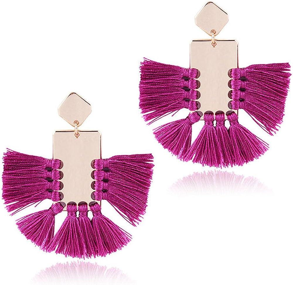 Women Earrings Geometric Purple Square Crystal Drop Dangle Trendy Jewelry Gift