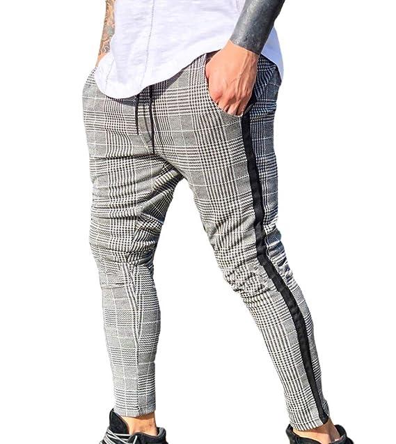 65c0d1b0ffcd Huateng Alte Mode Herren Hose Mit Klassisch Roten Plaid Langen Hosen Für  Männer  Amazon.de  Bekleidung