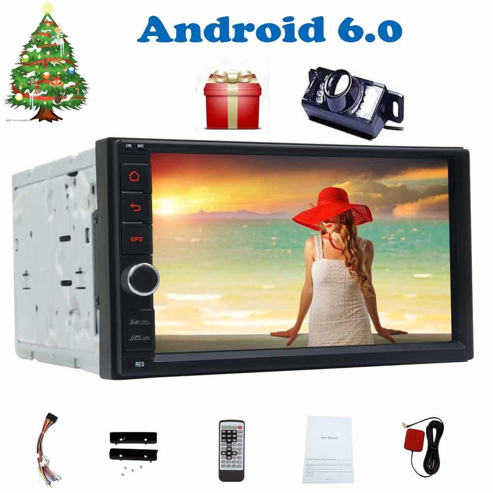 ダッシュカーモニターPCシステムユニット支持ブルートゥースmp3プレーヤーのWiFi MirrorLinkのautoradioでバックアップカメラ+クアッドコアのAndroid 6.0ダブル喧騒2DINカーラジオ7インチオートステレオ B0784W12M5