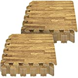 baby play mat wood - Sorbus Interlocking Floor Mat – Wood Print Multipurpose Foam Tile Flooring – Home, Office, Playroom (16 Tiles,16 Sq ft, Light)