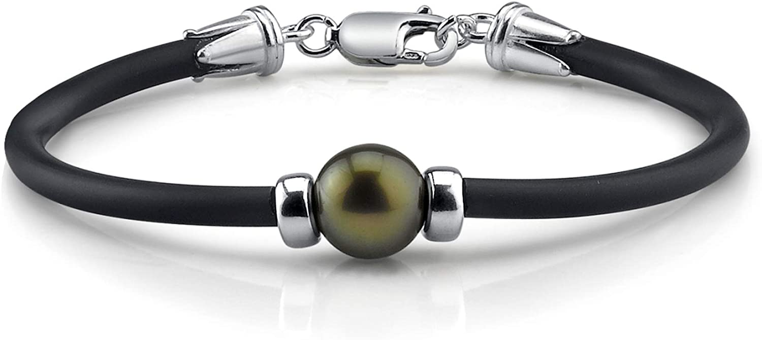 Pearl Bracelet 11-12mm Black Tahitian Pearl with Rubber Band and Sterling Silver Clasp - THE PEARL SOURCE