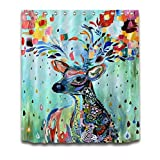 "Colorful Animal Kids Shower Curtain Polyester Fabric 3D Digital Printing Bath Curtain for Children 72x72"" Bathroom Curtains Colorful Rainbow Deer Looking Back Anti Bacterial with Plastic Hooks"