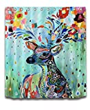LB Colorful Animal Kids Shower Curtain Polyester Fabric Digital Printing Bath Curtain for Children 72x72 Bathroom Curtains Colorful Rainbow Deer Looking Back Mildew Resistant with Plastic Hooks