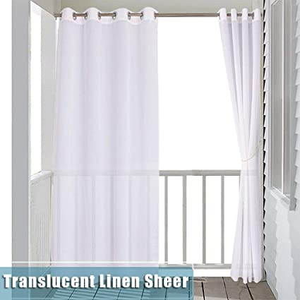 Amazon Com Ryb Home Outdoor Sheer Curtains Linen Like White Sheer