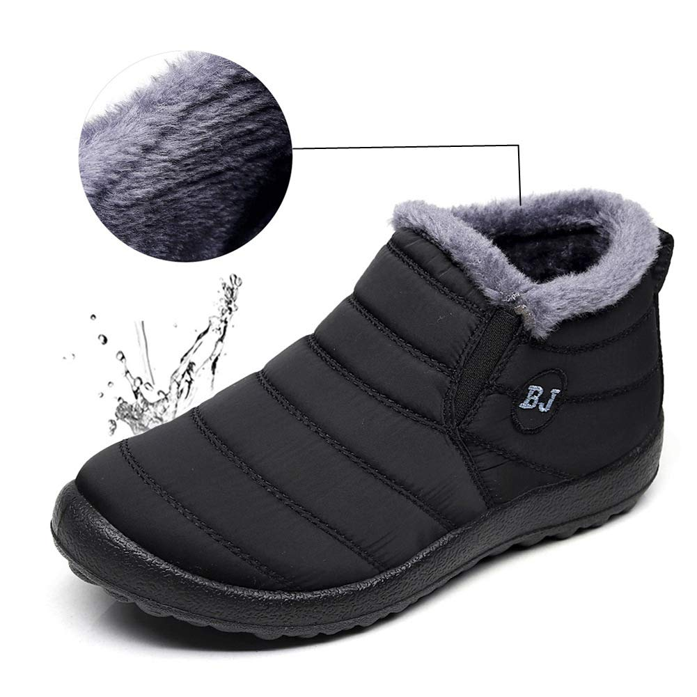 LINGTOM Women's Waterproof Snow Boots Winter Sneakers Boots Anti-Slip Ankle Booties with Fully Fur,Black 10 (42)