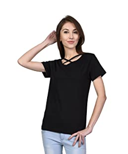 Kalt Women's V -Neck Half Sleeves Cotton Blend Top/T-Shirt (Black, XX-Large)