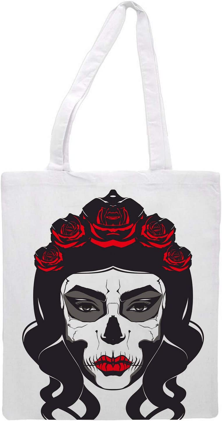 Women's tote bag/skull/Flowers - Sports Gym Lunch Yoga Shopping Travel Bag Washable - 1.47X0.98 Ft
