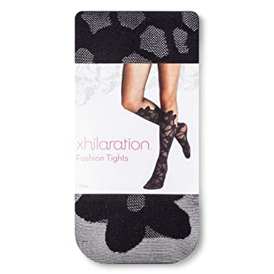 0e5bcc0255a22a XHILARATION Women's BLACK DAISY FLORAL LACE TO KNEES Fashion Footed Tights  ...