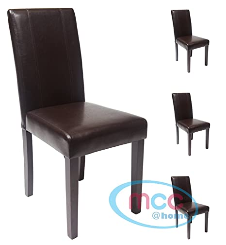 Fabulous Mcc Set Of 4 Faux Leather Dining Chairs For Home Commercial Restaurants Brown Black Red Cream Brown Evergreenethics Interior Chair Design Evergreenethicsorg