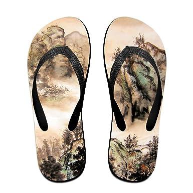 ca33964db Couple Flip Flops Chinese Moutain Art Print Chic Sandals Slipper Rubber  Non-Slip House Thong