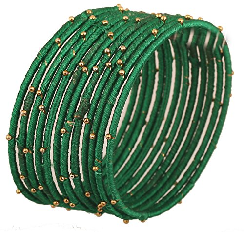 - Touchstone New Silk Thread Bangle Collection Indian Bollywood Handcrafted Faux Silk Thread Green Stunning Golden Beads Bangle Bracelets Designer Jewelry for Women in Antique Gold Tone. Set of 12.