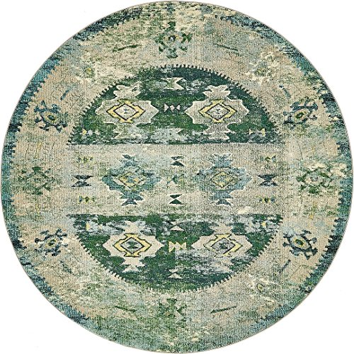 Vintage Modern and Traditional Rugs -Feet Troezen Collection Area Rug (8'-Feet-Round, Green, Beige, Blue, Gold, Navy Blue, Cream)