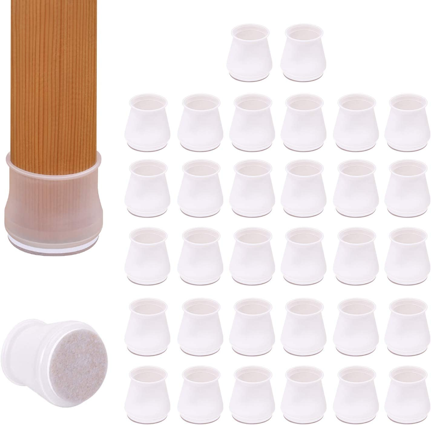 AIRUJIA Furniture Silicone Protection Cover, 32Pack Round Chair Leg Floor Protectors, Chair Socks Furniture Table Feet Cups with Felt Pads Beneath, Fits 3/4