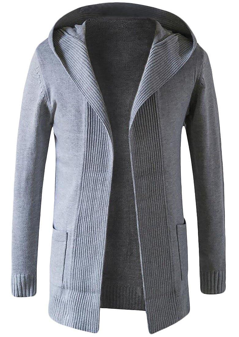 YYear Mens Outwear Knitted Open Front Longline Sweater Cardigans Hooded