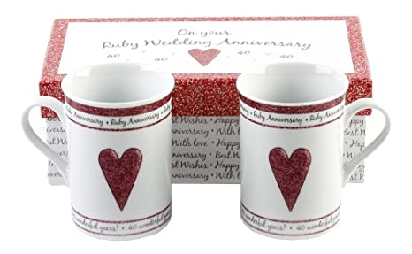 Amazon 40th Ruby Wedding Anniversary Gift Set Ceramic Mugs By