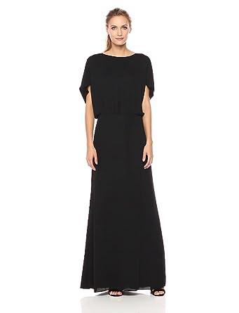 ebcaeae7e7d0 Halston Heritage Women's Flowy Short Sleeve Wide Boatneck Gown with Split,  Black, ...