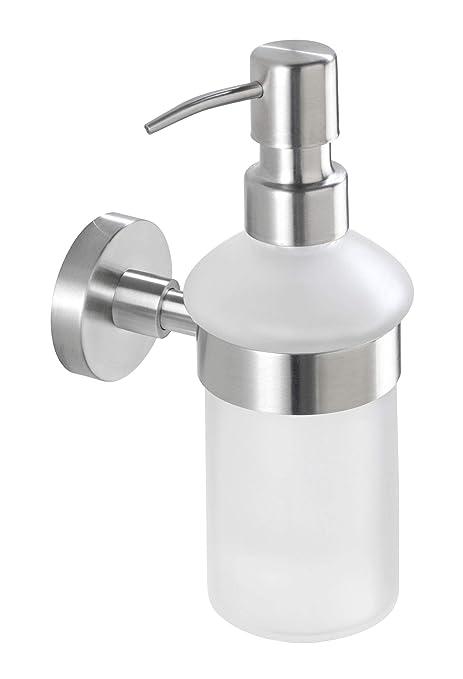 Wenko 19617100 Dispensador jabón Bosio mate, 0.2 L, Acero inox, 7 x 18